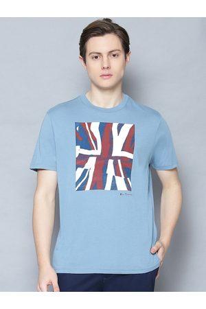 Ben Sherman Men Blue Printed Round Neck Organic Cotton T-shirt