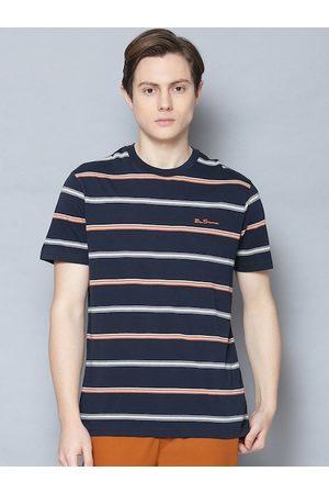 Ben Sherman Men Short Sleeve - Men Navy Blue Striped Round Neck Cotton T-shirt