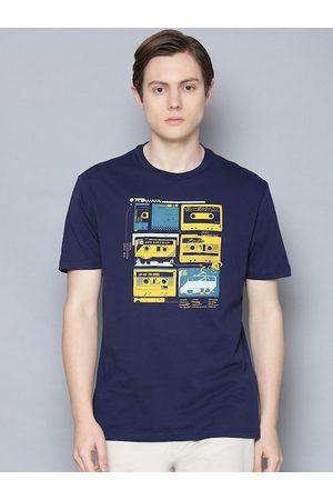 Ben Sherman Men Blue Printed Organic Cotton Round Neck T-shirt
