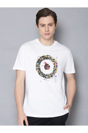 Ben Sherman Men White Printed Round Neck T-shirt