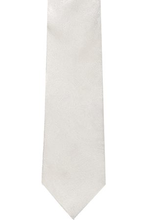 Louis Philippe Men White Woven-Design Silk Broad Tie