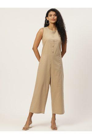Trend Arrest Women Beige Solid Pure Cotton Basic Jumpsuit