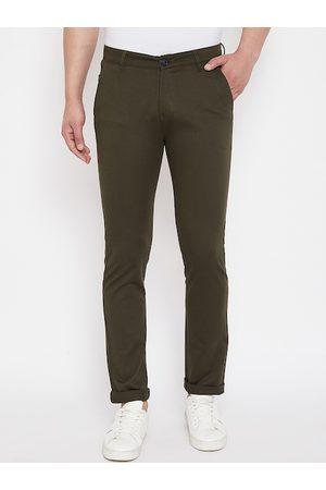 Crimsoune Club Men Olive Green Slim Fit Solid Regular Trousers