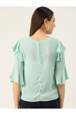MADAME Women Sea Green Solid Styled Back Top