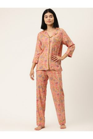 MABISH by Sonal Jain Women Peach-Coloured & Green Printed Nightsuit