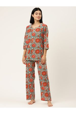 MABISH by Sonal Jain Women Blue & Red Floral Print Pure Cotton Night suit