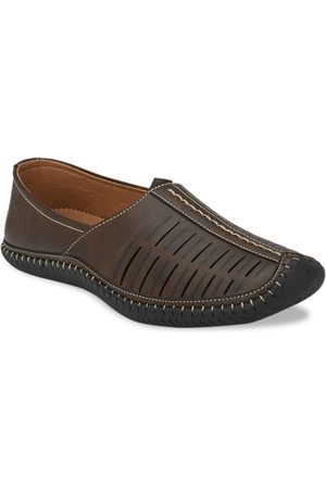 Azzaro Men Brown Printed Synthetic Leather Loafers