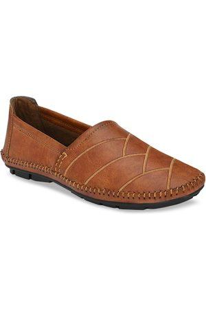 Azzaro Men Tan Leather Slip-On Sneakers