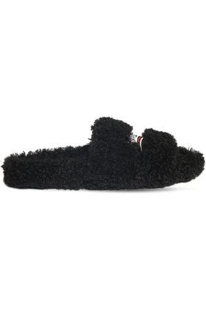 Balenciaga Men Sandals - Political Logo Furry Slide Sandals