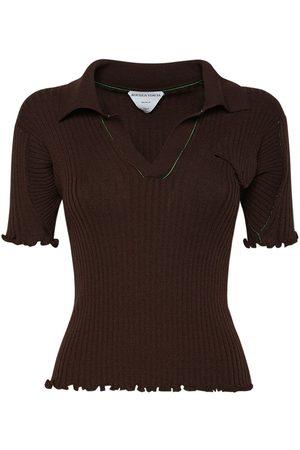 Bottega Veneta Women Jumpers - Wool Rib Knit Polo Sweater