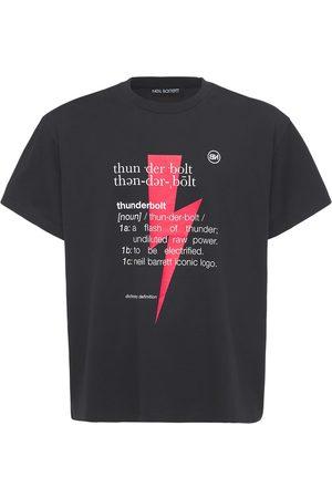 Neil Barrett Men T-shirts - Thunderbolt Print Cotton Jersey T-shirt