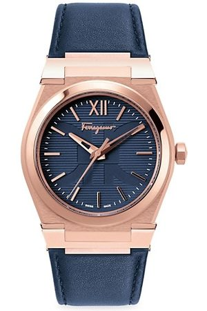 Salvatore Ferragamo Vega Rose Goldtone Stainless Steel Leather-Strap Watch