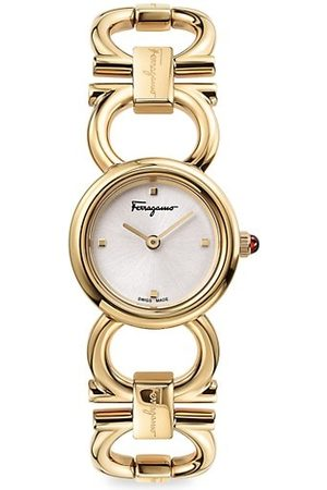 Salvatore Ferragamo Double Gancini Round Yellow Goldtone Stainless Steel Bracelet Watch