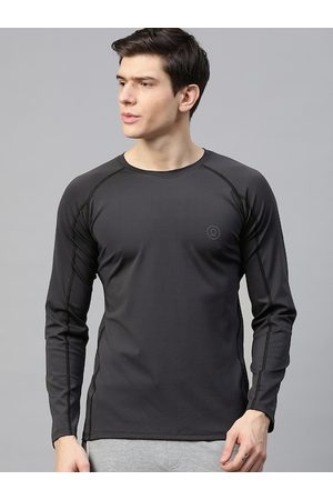 CHKOKKO Men Charcoal Grey Solid Dri-FIT Round Neck Gym T-shirt