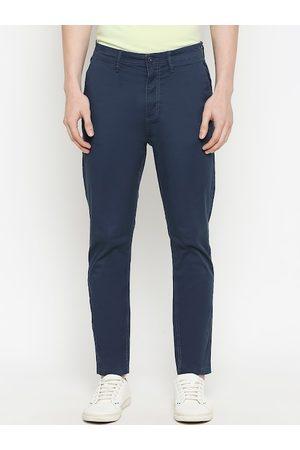 Urban Ranger by pantaloons Men Navy Blue Slim Fit Solid Regular Trousers