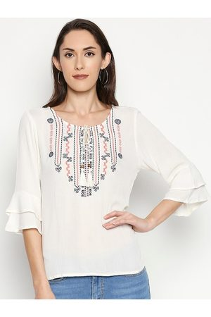 PEOPLE White Embroidered Tie-Up Neck Bell Sleeves Top