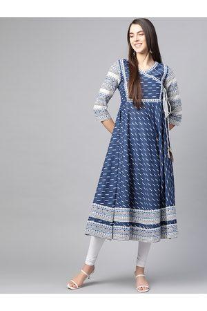 Yash Gallery Women Navy Blue & White Printed Cotton Angrakha Anarkali Kurta