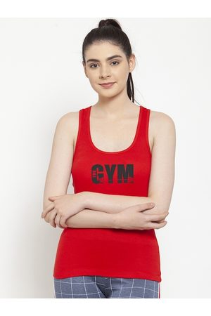 Friskers Women Red & Black Printed Camisole