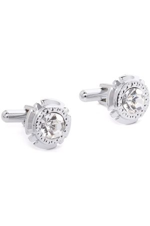 D.C Creation Silver-Plated Stone-Studded Round Cufflinks