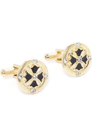 D.C Creation Black Gold-Plated Stone-Studded & Enamelled Round Cufflinks