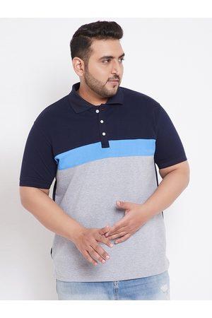 Bigbanana Men Grey & Navy Blue Bio Finish Colourblocked Polo Collar T-shirt