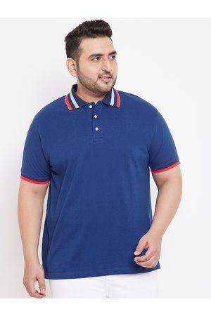 Bigbanana Men Blue Solid Polo Collar T-shirt
