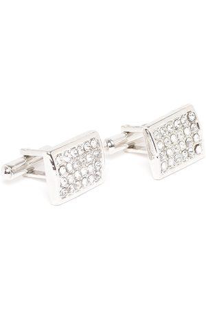 D.C Creation Silver-Plated American Diamond Studded Rectangle Cufflinks