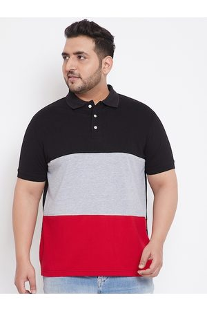 Bigbanana Men Red Colourblocked Polo Collar T-shirt