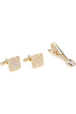 D.C Creation Men Gold-Plated Artificial Stone-Studded Square Cufflinks & Tie Pin