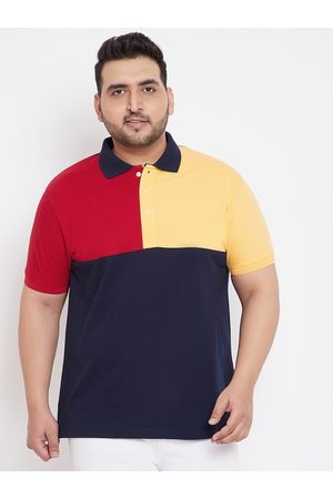 Bigbanana Men Navy Blue & Red Colourblocked Polo Collar T-shirt