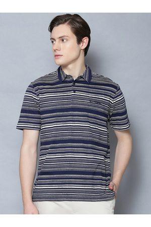 Ben Sherman Men Blue Striped Polo Collar T-shirt