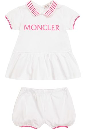 Moncler Baby Sets - Baby logo cotton dress and bloomers set