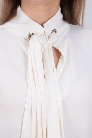 REPEAT cashmere Tie Neck Shirt in Cream