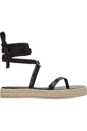 Gianvito Rossi 20mm Leather Espadrille Thong Sandals