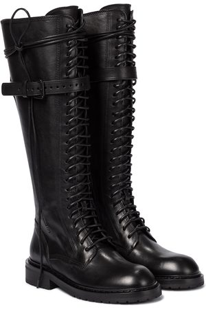 ANN DEMEULEMEESTER Lace-up leather knee-high boots