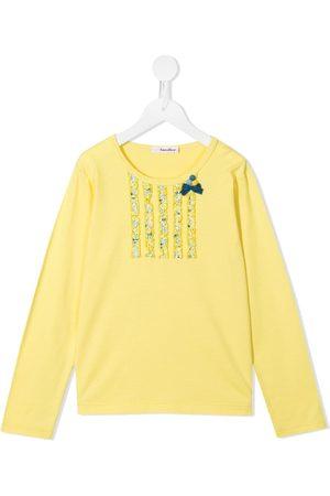 Familiar Girls Long Sleeve - Floral-ruffle long-sleeve T-shirt