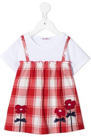 Familiar Girls Short Sleeve - Floral-detail layered check T-shirt