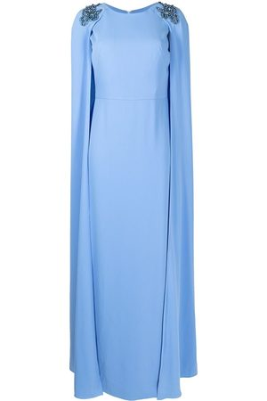 Marchesa Notte Women Evenings Dresses - Embroidered cape dress