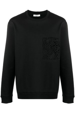 VALENTINO Men Sweatshirts - Lace-detail logo-print sweatshirt