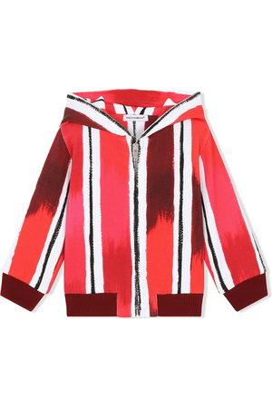 Dolce & Gabbana Hoodies - DG paint-effect striped zip hoodie