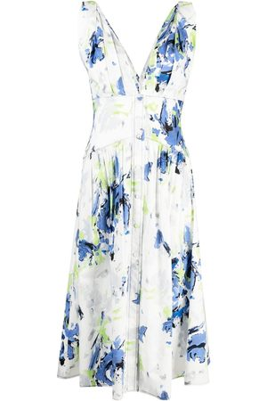 Serafini Abstract print cotton midi dress