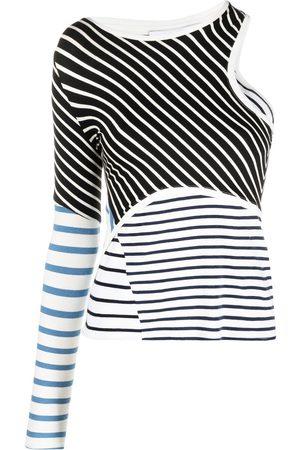 Marine Serre Stripe-print cutout T-shirt