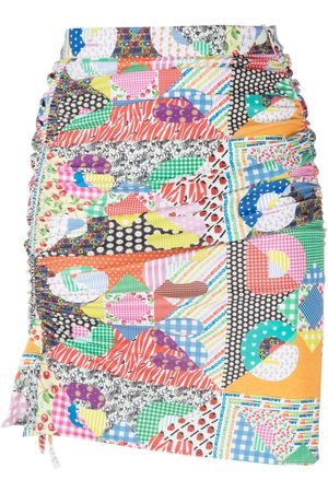 GCDS Women Printed Skirts - Mix-print fitted skirt