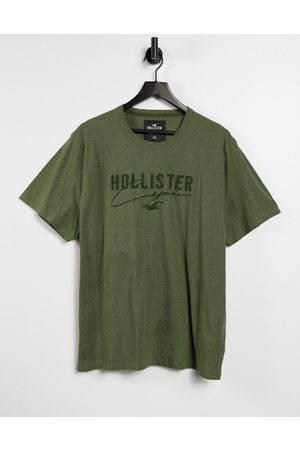 Hollister Tonal tech logo t-shirt in olive marl
