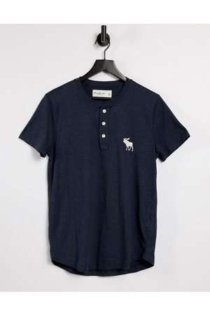 Abercrombie & Fitch Exploded icon logo henley t-shirt in