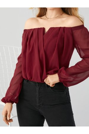YOINS Sexy Wrap Design Off The Shoulder Long Sleeves Blouse