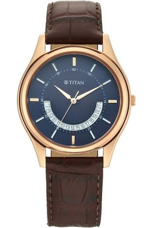 Titan Men Brown & Blue Analogue Watch 1713WL01