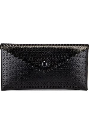 Alaïa Louise 24 Leather Perforated Clutch in Noir