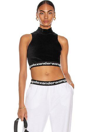 Alexander Wang Logo Mock Neck Sleeveless Top in