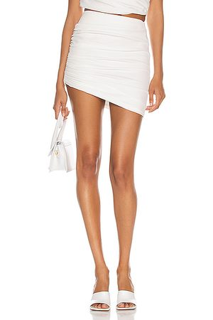 The Sei Gathered Asymmetric Mini Skirt in Ivory